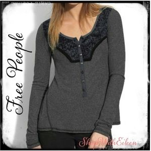 FREE PEOPLE Diego CharcoalGray Thermal Lace Henley